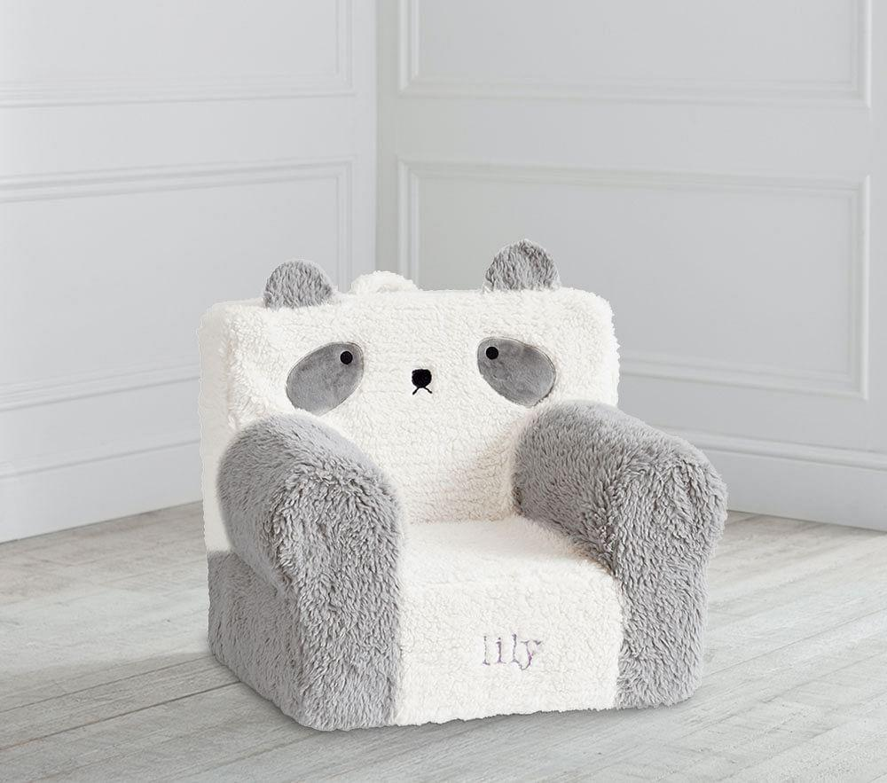 My First Ivory Grey Panda Sherpa Anywhere Chair®