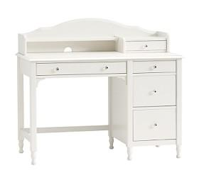 Juliette Storage Desk & Hutch - French White