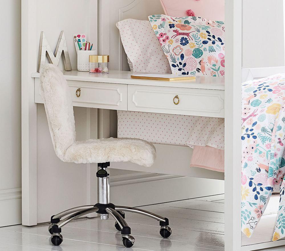 Round Upholstered Desk Chair, Brushed Nickel Base