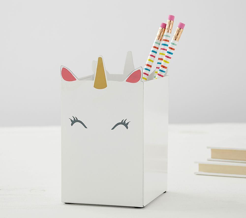 White Unicorn Pencil Holder