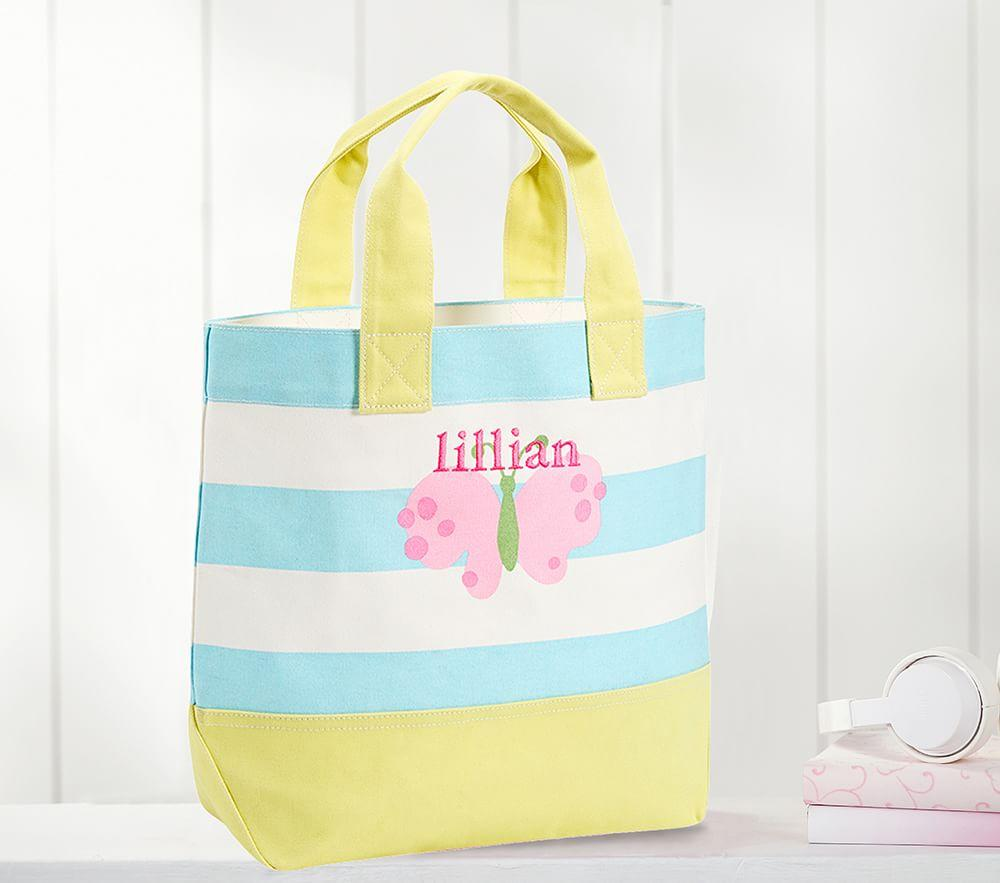 Aqua Pink Butterfly Tote