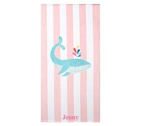 Whale Stripe Beach Towel