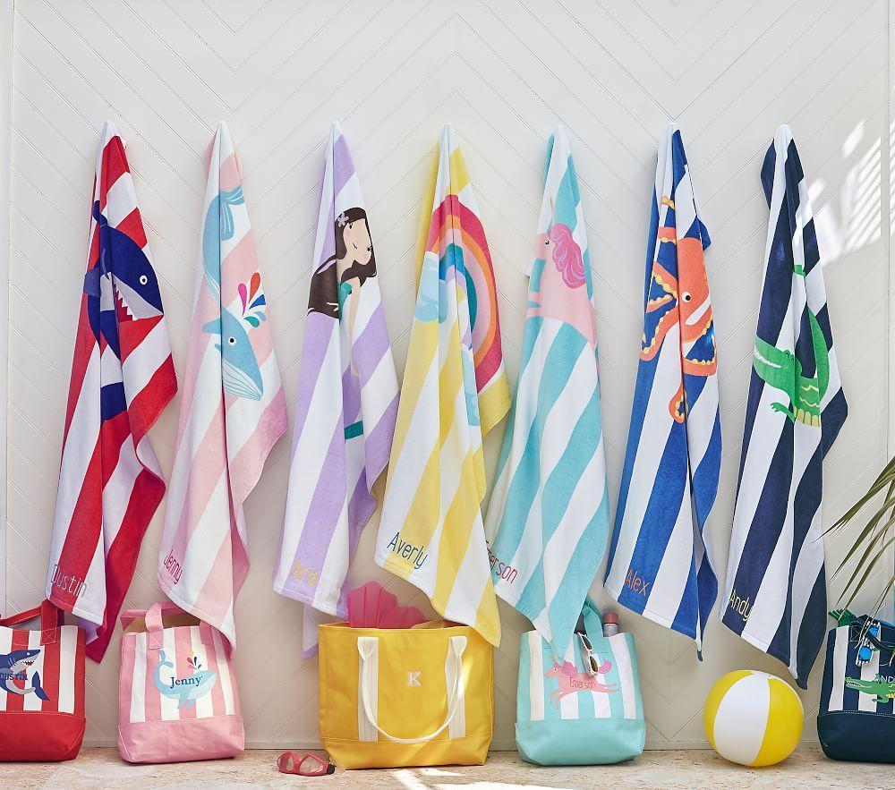 Unicorn Stripe Beach Towel