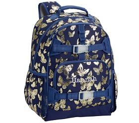 Mackenzie Navy Gold Foil Butterflies Backpacks
