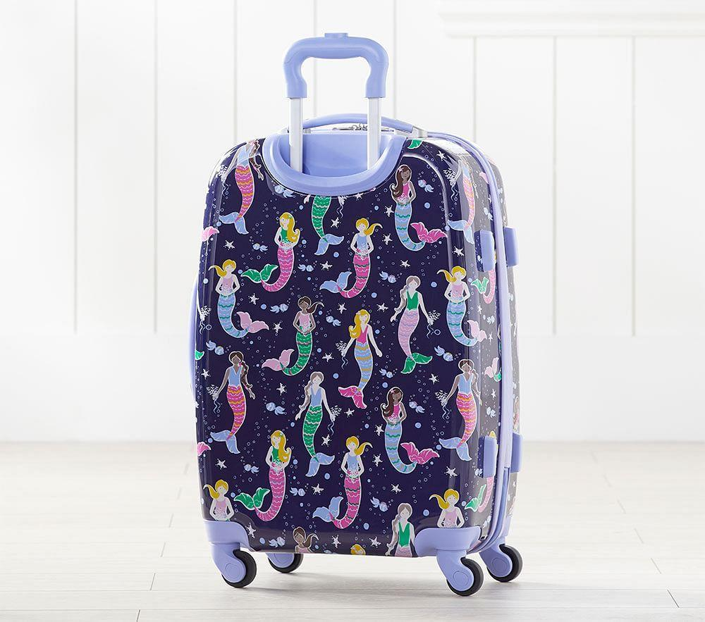 Mackenzie Navy Multicolor Heart Hard Sided Spinner Luggage