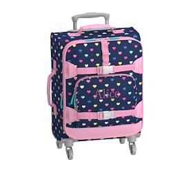 Mackenzie Navy Multicolor Heart Spinner Luggage