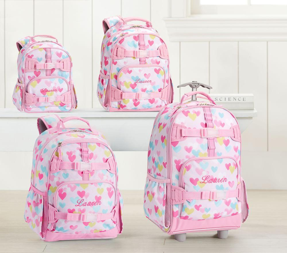 Mackenzie Pink Cascading Hearts Backpacks