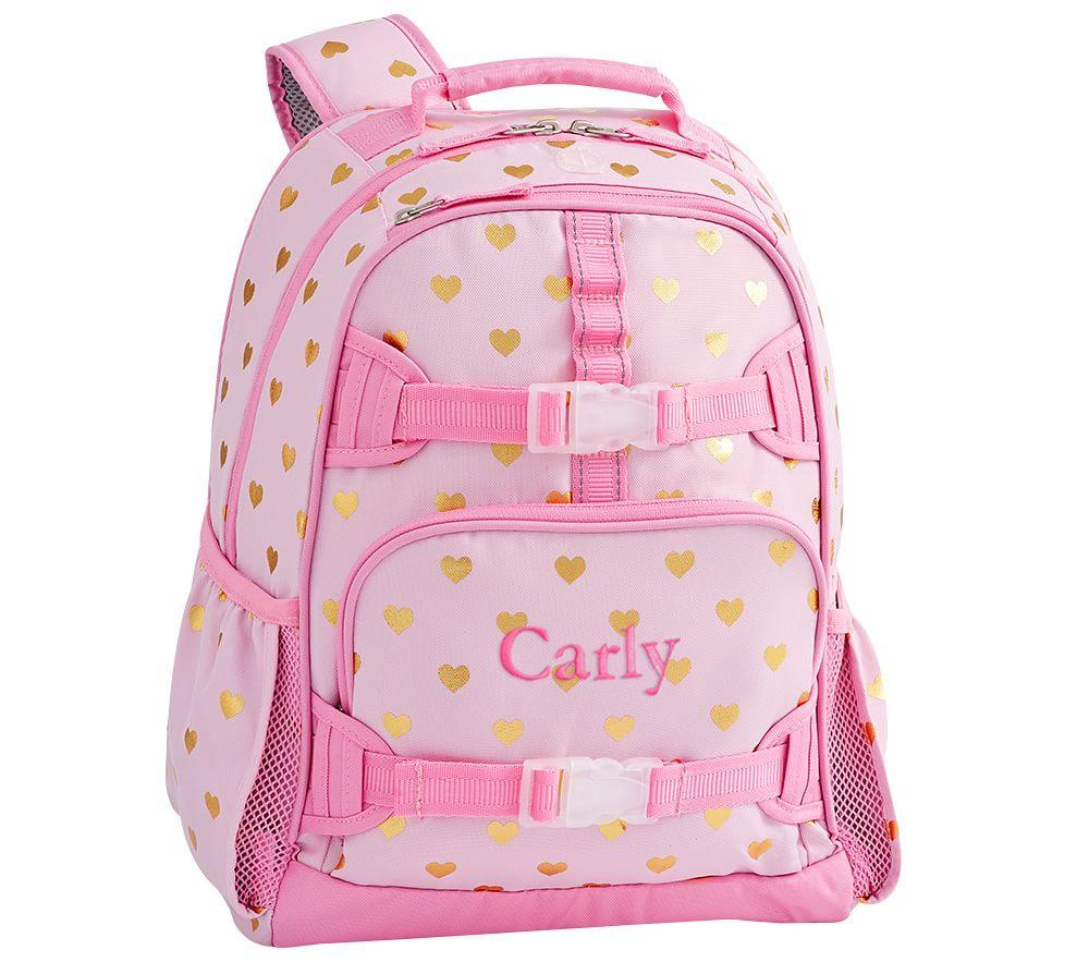 Mackenzie Pink/Gold Foil Hearts Backpacks
