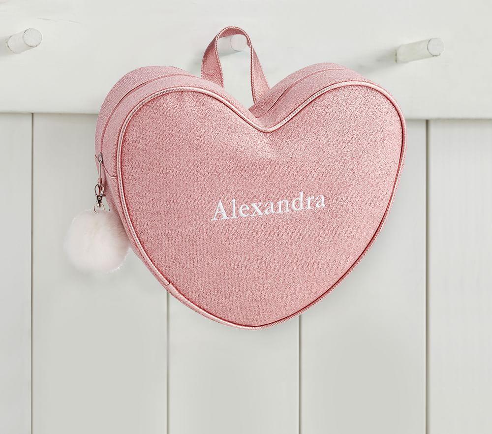 Pink Glitter Heart Backpack with Pom-Pom Tassel