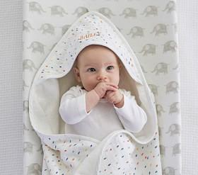 Confetti Dot Muslin Nursery Hooded Towel And Washcloth Set