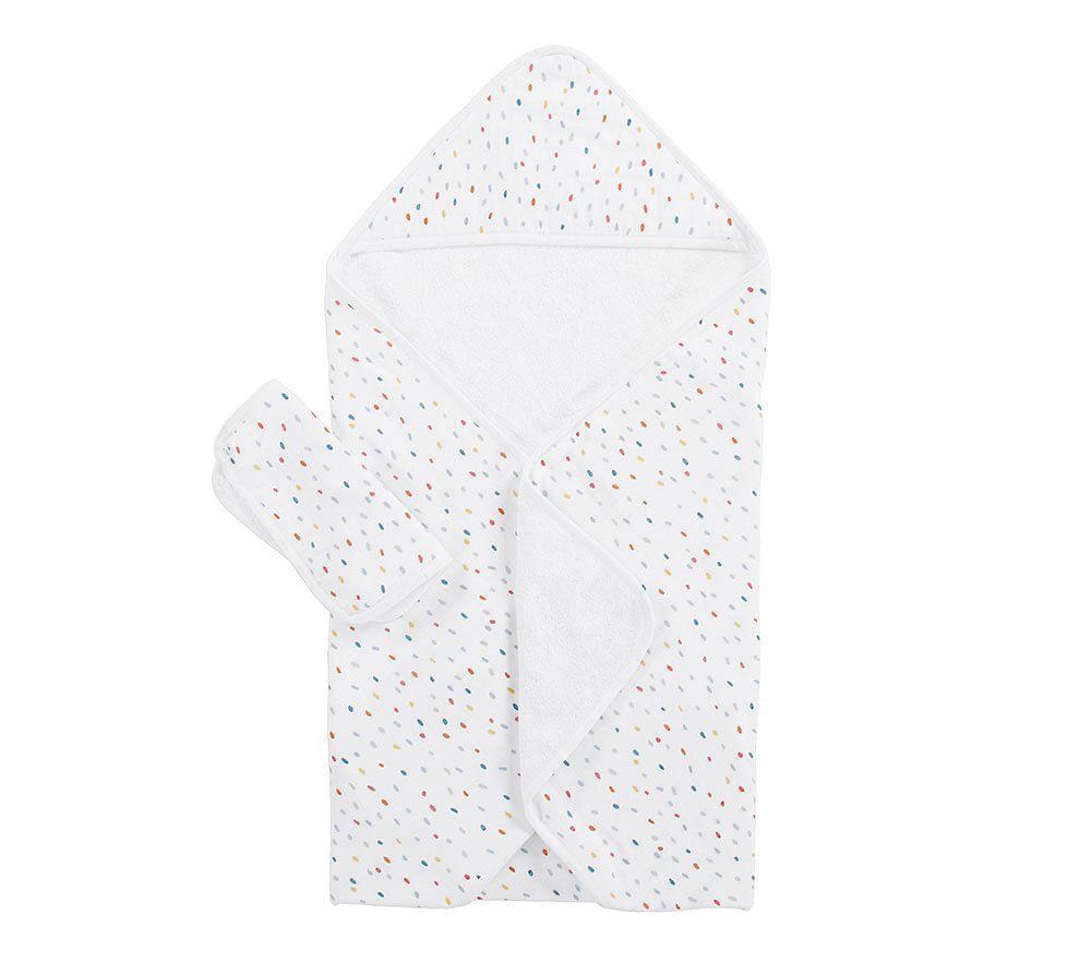 Confetti Dot Muslin Nursery Hooded Towel And Washcloth Set