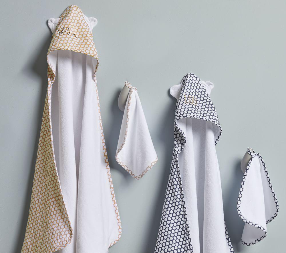 west elm x pbk Dot Muslin Baby Bath Wrap & Washcloth Set