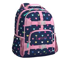 Mackenzie Navy Multicolour Heart Backpack