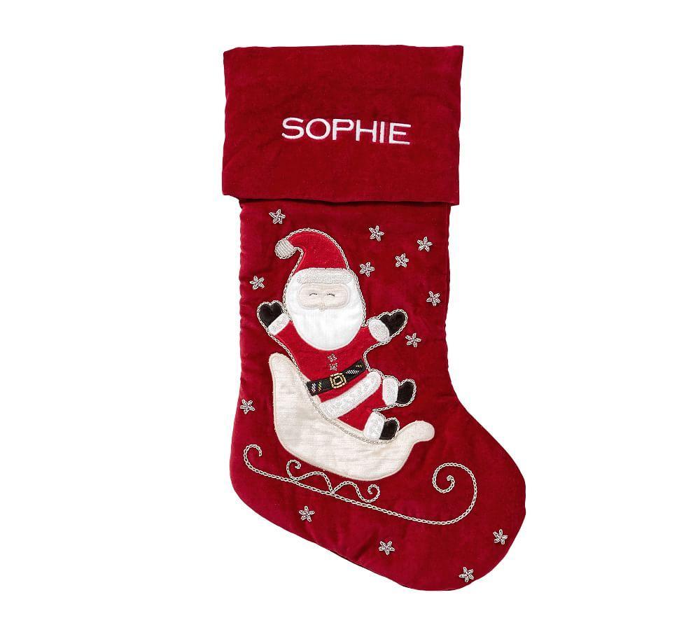 Santa In Sleigh Luxe Velvet Stocking
