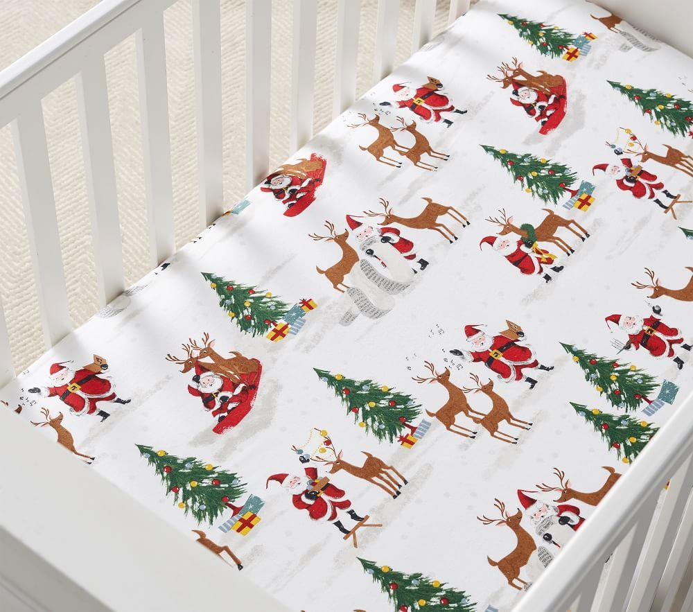 Organic Merry Santa Cot Fitted Sheet