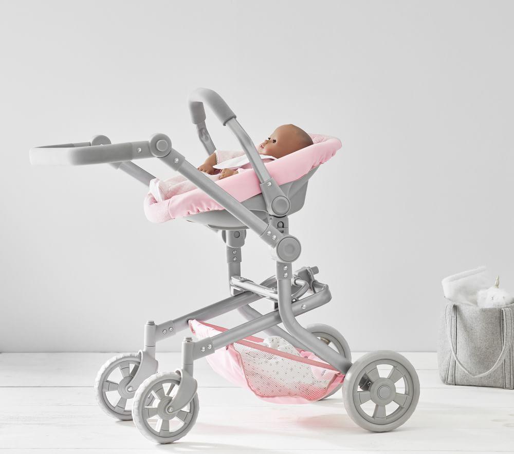 Pink Glitter Mini Pram Doll Stroller: Pink Glitter Convertible 3-in-1 Doll Pram Stroller