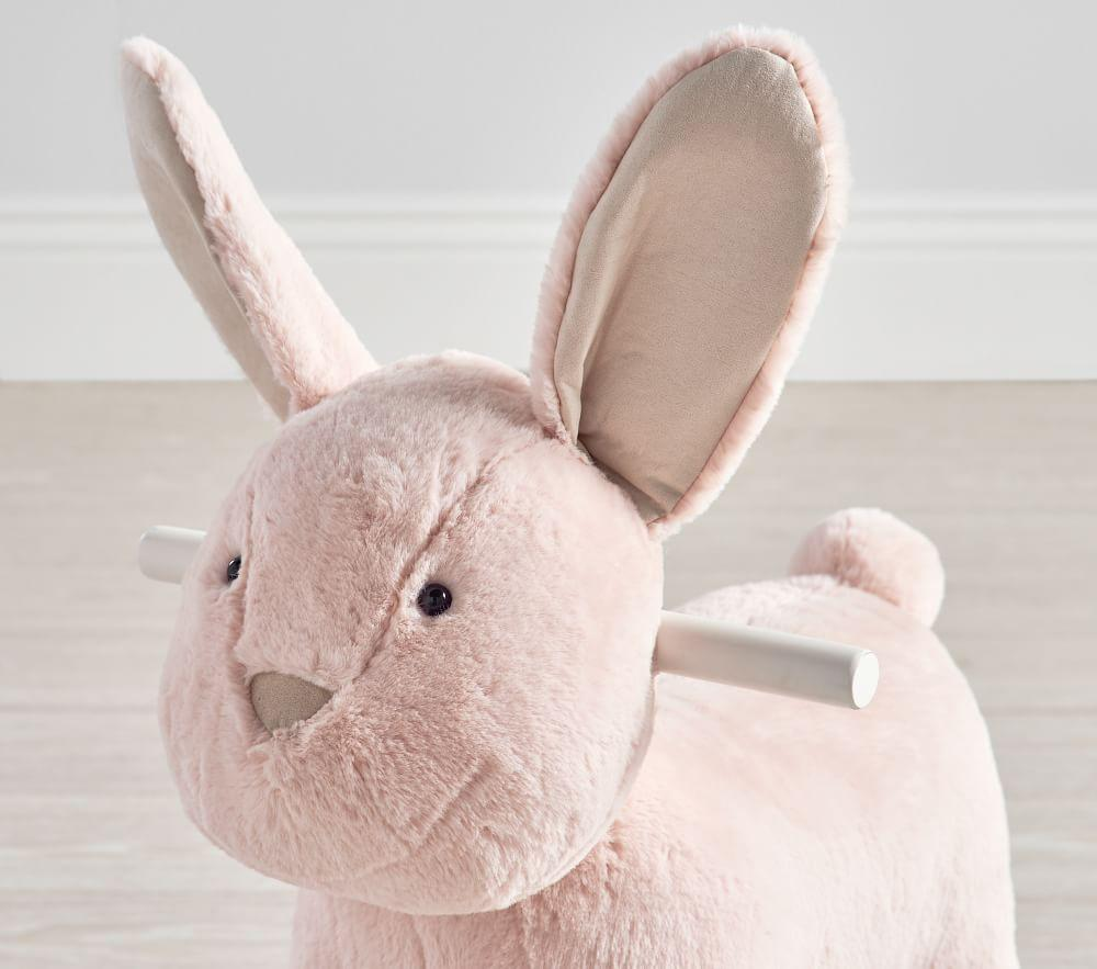 Blush Bunny Plush Nursery Rocker