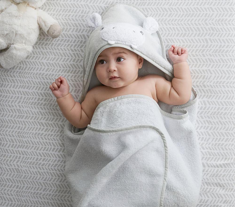 Hippo Hooded Nursery Wrap & Wash Cloth