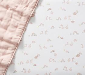 Organic Flannelette Rainbow Bunny Cot Fitted Sheet