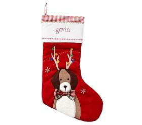 Dog With Antlers Red Quilted Stocking