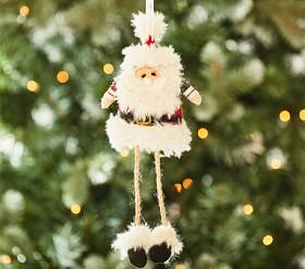 Plaid Santa Plush Ornament