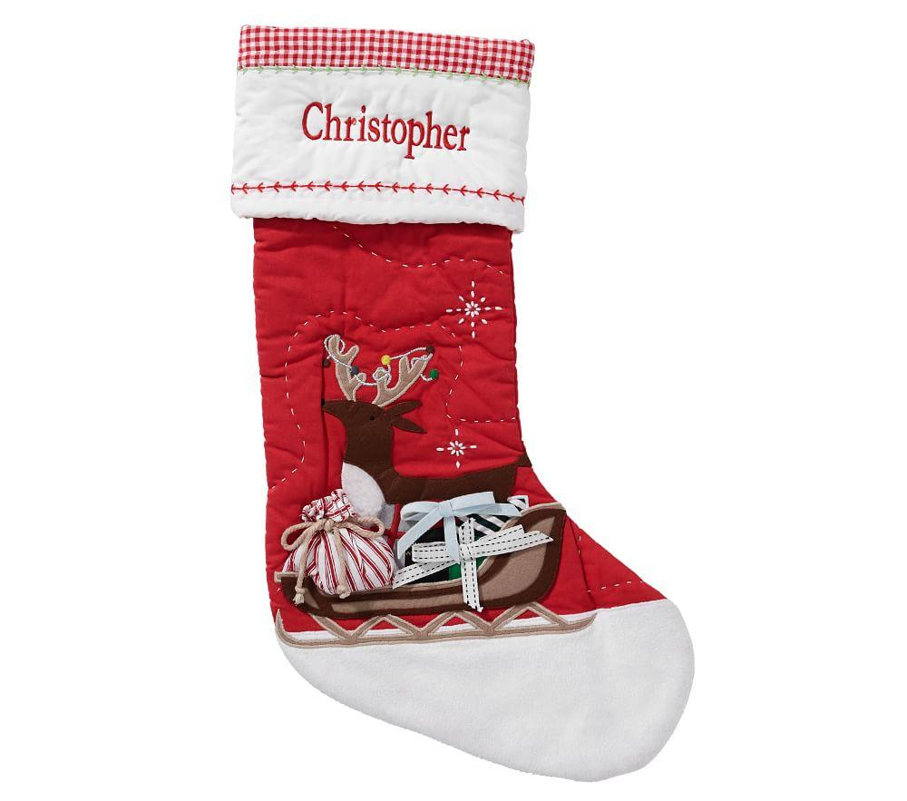 Reindeer Sleigh Quilted Stocking