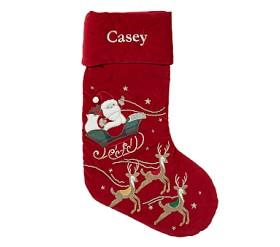 Flying Reindeer Santa Luxe Velvet Stocking