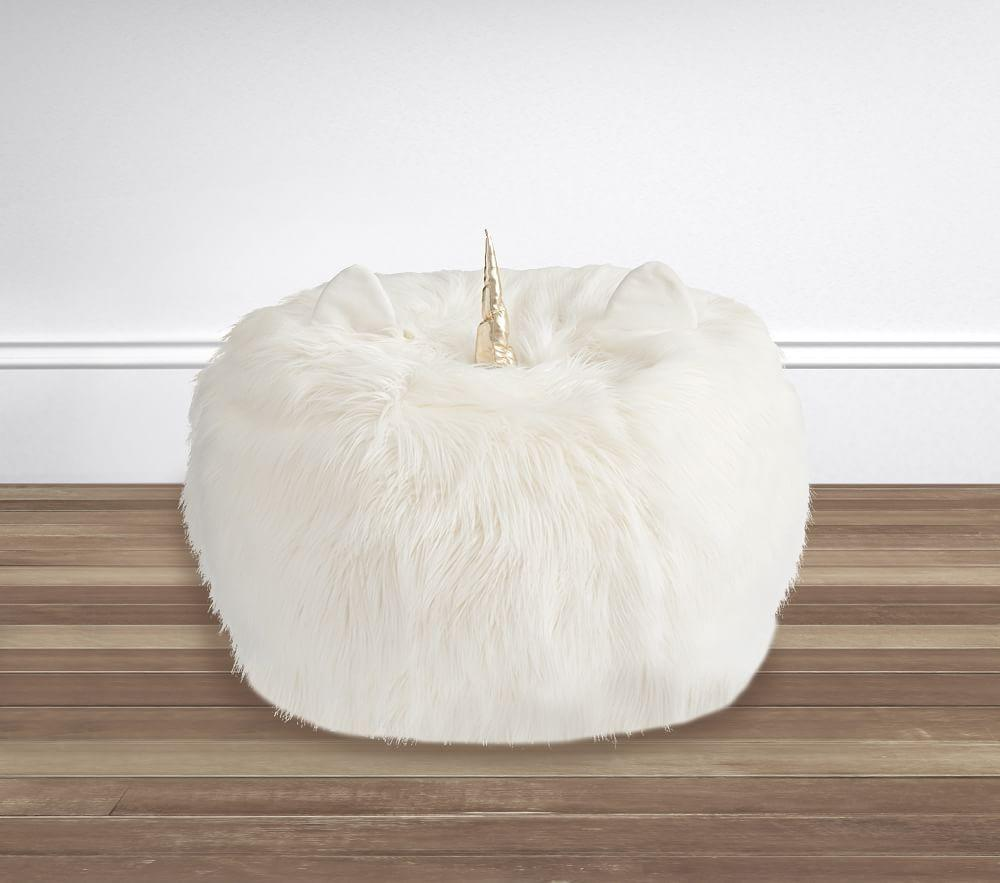 Ivory Unicorn Faux Fur Anywhere Beanbag™