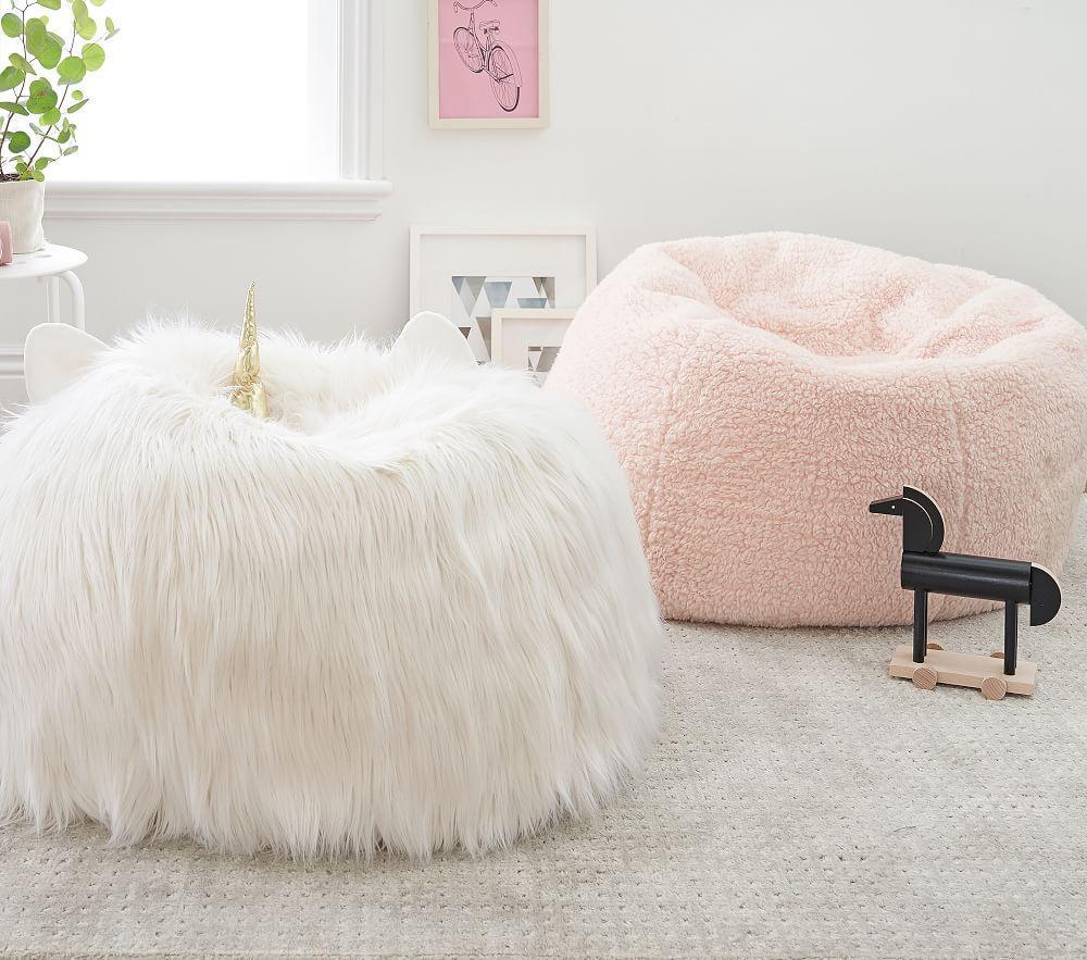 Ivory Unicorn Faux Fur Anywhere Beanbag™