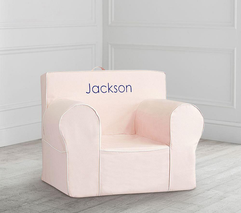 Oversized Blush With White Piping Anywhere Chair
