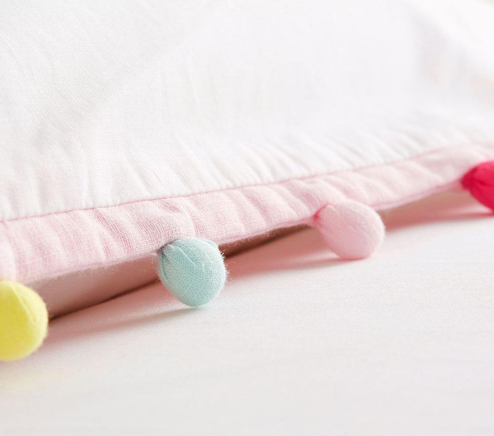 Rainbow Pom Pom Quilt Cover