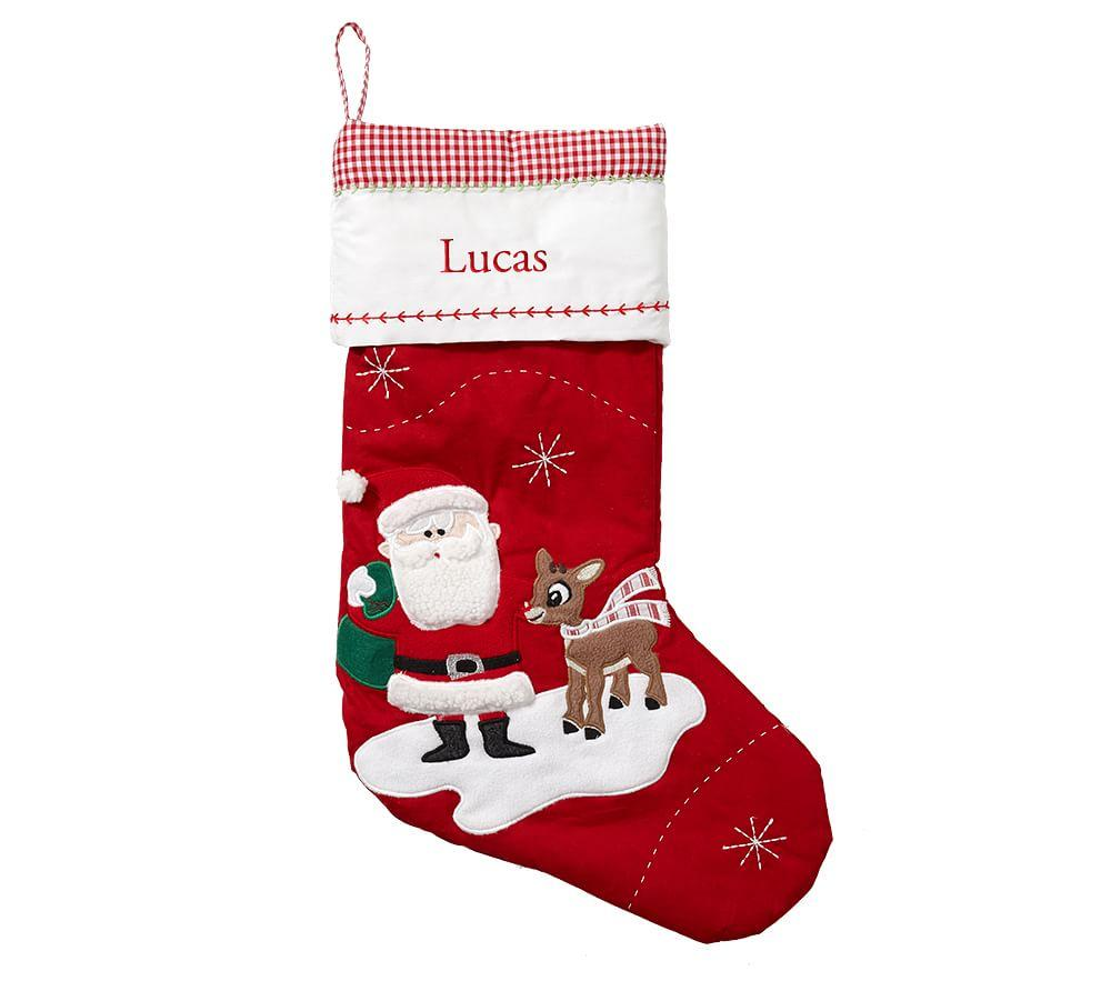 Santa With Rudolph Quilted Stocking