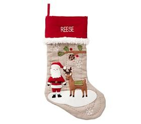 Natural Santa And Reindeer Woodland Stocking