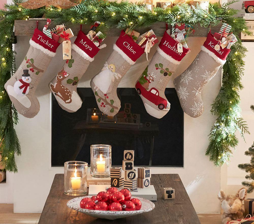 Natural Santa And Reindeer Woodland Stocking