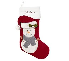 Snowman Luxe Velvet Stocking