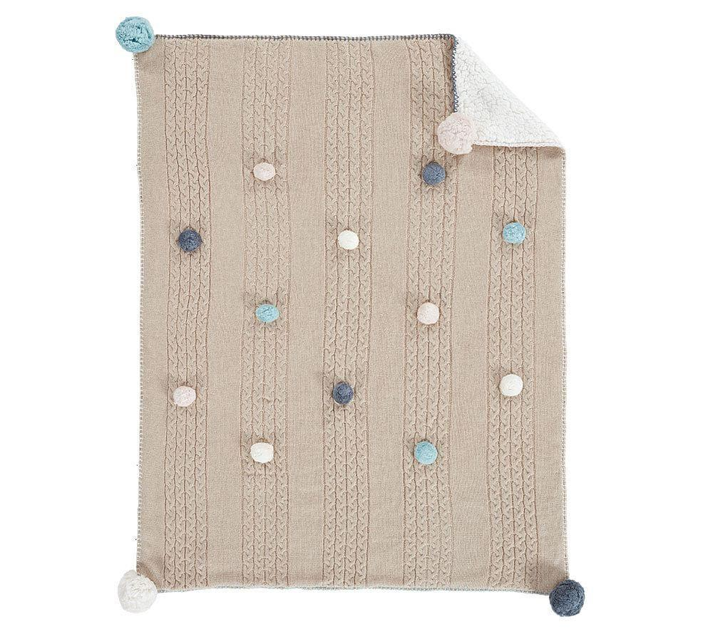 Cable Knit Pom Pom Baby Blanket Pottery Barn Kids