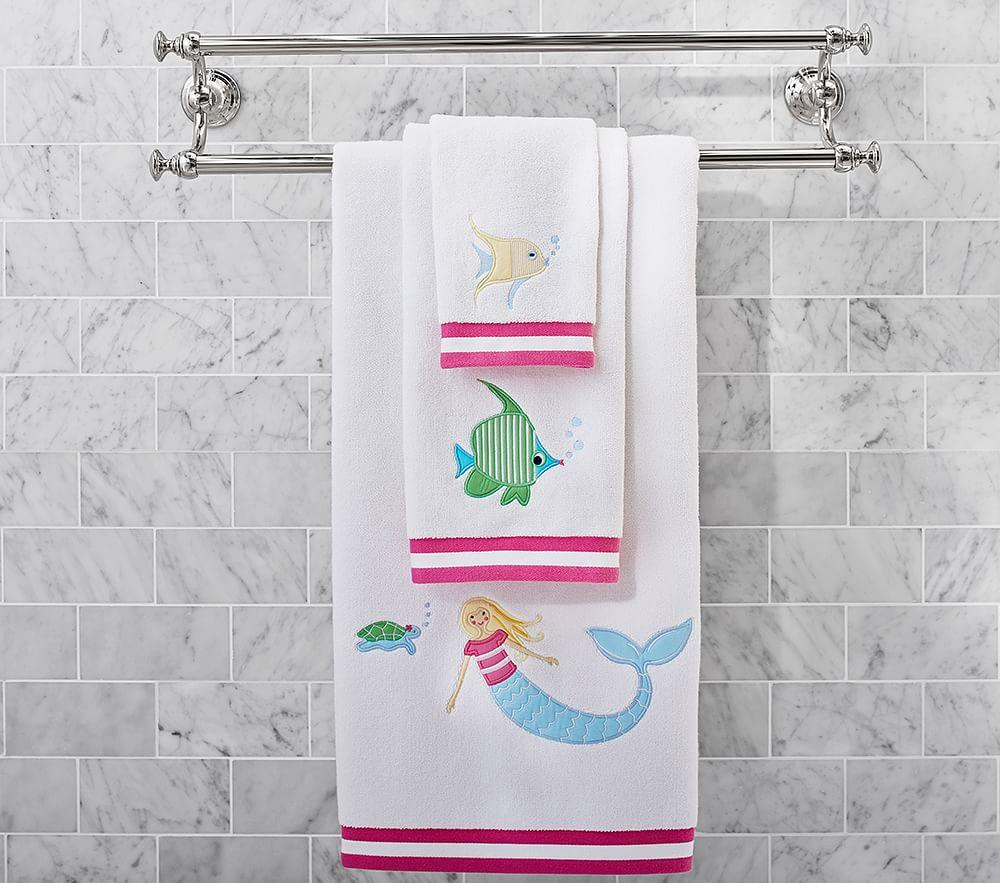 under the sea mermaid bath towel collection pottery barn kids. Black Bedroom Furniture Sets. Home Design Ideas
