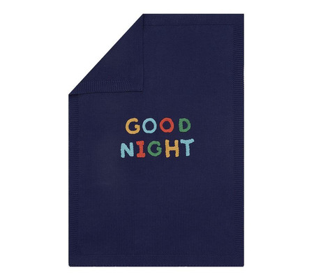 Sweater Knit Applique Good Night Baby Blanket