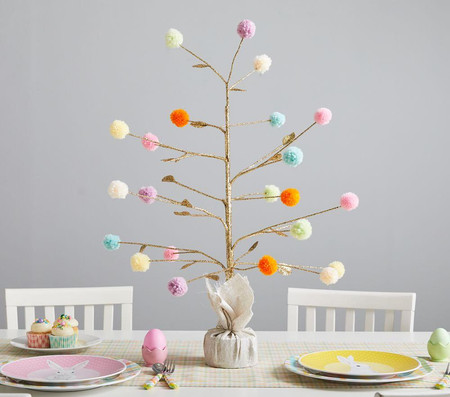 Glitter Pom-Pom Tree Decor