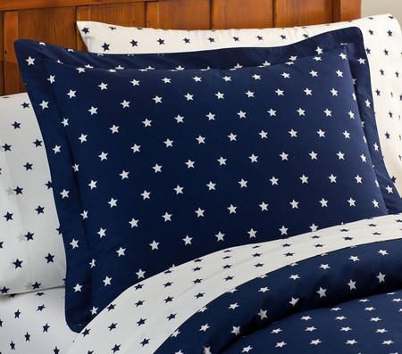 Organic Star Quilt Cover, Navy