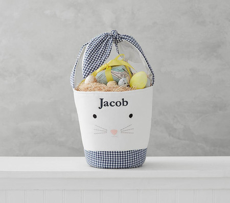 Navy Tie Ear Bunny Bucket