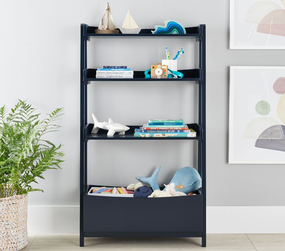 Angled Bookcase, Navy