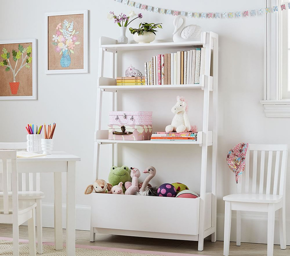 Angled Bookcase, Simply White