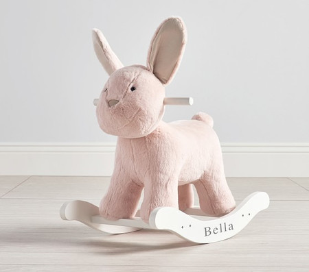 Blush Bunny Plush Nursery Rocker