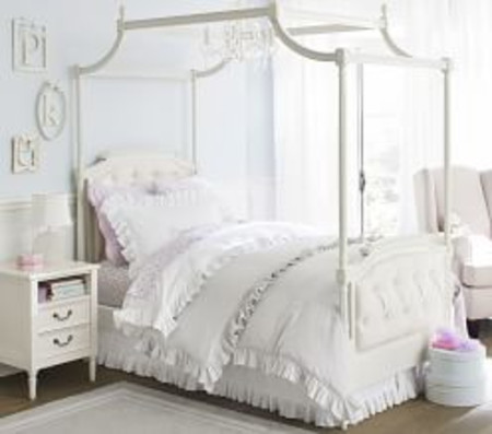 Blythe Tufted Canopy Bed - French White