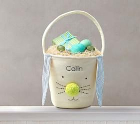 Canvas Bunny Easter Bucket