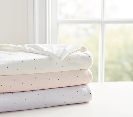 Chamois Metallic Dot Baby Blanket