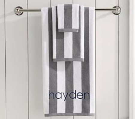 Dark Grey Rugby Stripe Bath Collection