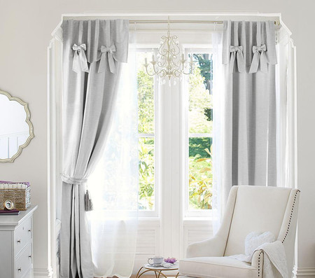 Evelyn Linen Blend Bow Valance Blackout Curtain