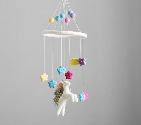 Felted Unicorn Ceiling Mobile